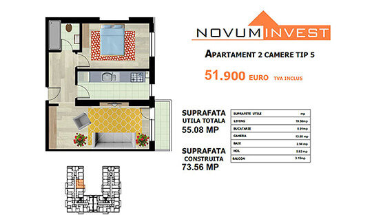 Apartament 2 camere Tip 5 - Lacul Morii Bloc 1
