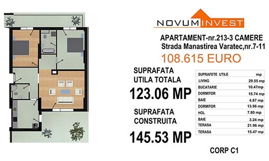 Apartament 3 camere, Ap. Nr. 213, Corp C1 - Lacul Morii Bloc 1