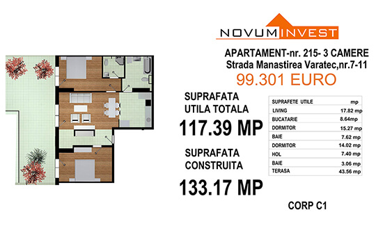 Apartament 3 camere, Ap. Nr. 215, Corp C1 - Lacul Morii Bloc 1