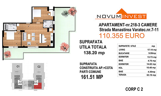 Apartament 3 camere, Ap. Nr. 218, Corp C2 - Lacul Morii Bloc 1