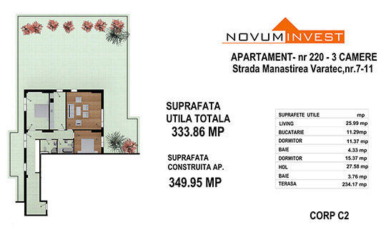 Apartament 3 camere, Ap. Nr. 220, Corp C2 - Lacul Morii Bloc 1