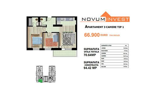 Apartament 3 camere Tip 1 - Lacul Morii Bloc 1