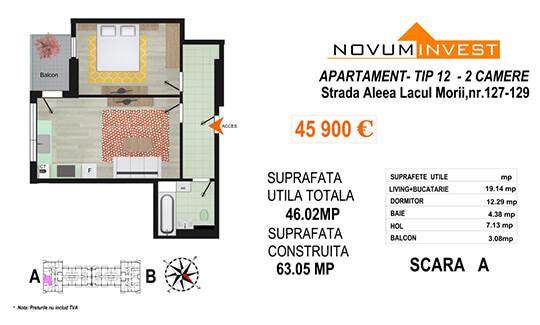Apartament 2 camere Tip 12  Scara A - Lacul Morii Bloc 2