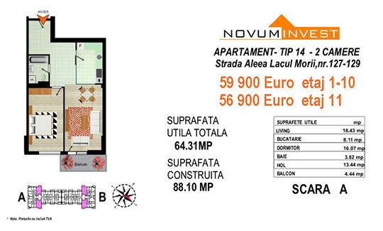 Apartament 2 camere Tip 14 Scara A&B - Lacul Morii Bloc 2
