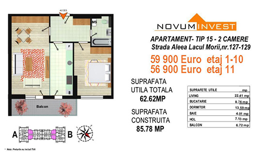 Apartament 2 camere Tip 15 Scara A&B - Lacul Morii Bloc 2