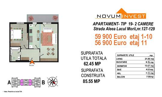 Apartament 2 camere Tip 19 Scara A&B - Lacul Morii Bloc 2
