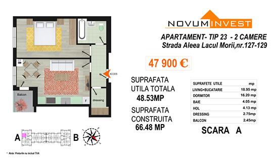 Apartament 2 camere Tip 23 Scara A - Lacul Morii Bloc 2