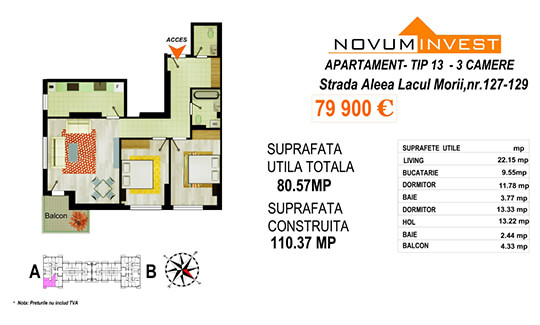 Apartament 3 camere Tip 13 Scara A - Lacul Morii Bloc 2