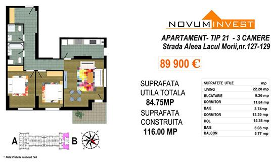 Apartament 3 camere Tip 21 Scara B - Lacul Morii Bloc 2