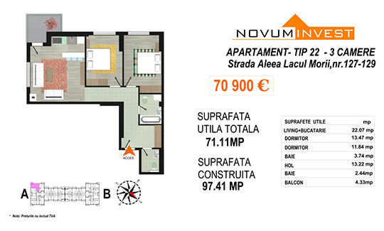 Apartament 3 camere Tip 22 Scara A - Lacul Morii Bloc 2