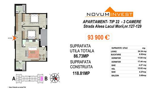 Apartament 3 camere Tip 22 Scara B - Lacul Morii Bloc 2