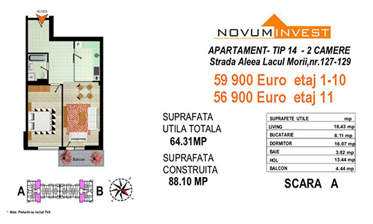 Apartament 2 camere Tip 14 Scara A&B - Lacul Morii