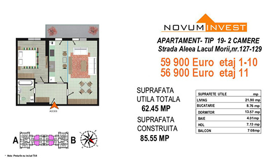 Apartament 2 camere Tip 19 Scara A&B - Lacul Morii