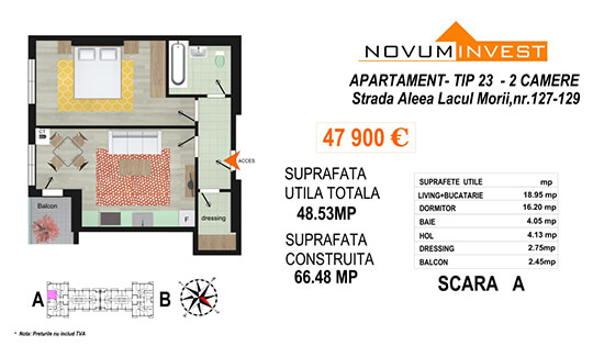 Apartament 2 camere Tip 23 Scara A - Lacul Morii
