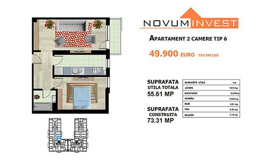 Apartament 2 camere Tip 6 - Lacul Morii