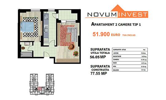 Apartament 2 camere Tip 1 - Lacul Morii