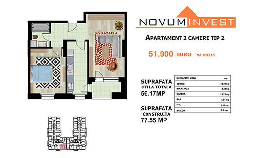 Apartament 2 camere Tip 2 - Lacul Morii