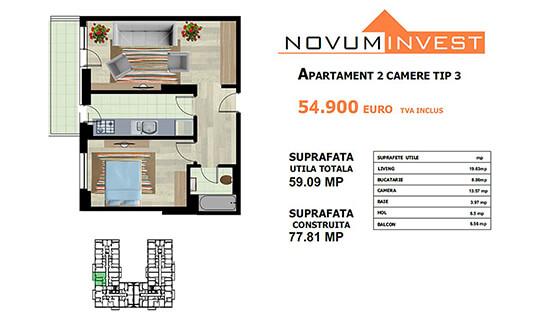 Apartament 2 camere Tip 3 - Lacul Morii