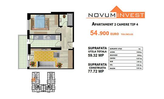 Apartament 2 camere Tip 4 - Lacul Morii