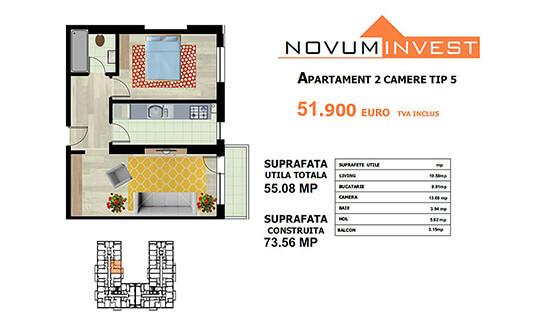 Apartament 2 camere Tip 5 - Lacul Morii