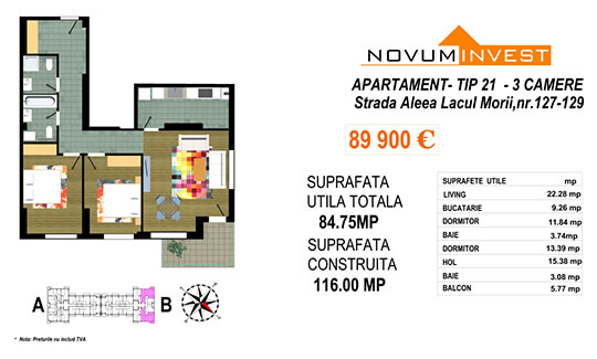 Apartament 3 camere Tip 21 Scara B - Lacul Morii