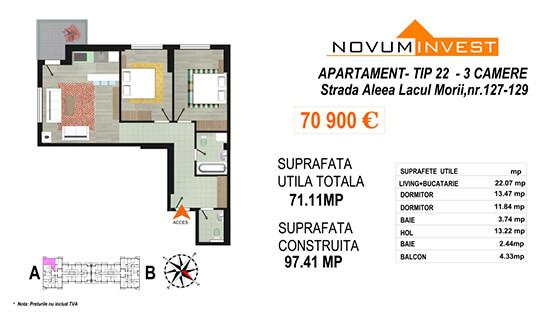 Apartament 3 camere Tip 22 Scara A - Lacul Morii