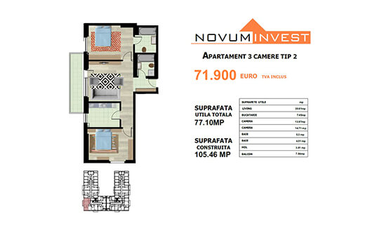 Apartament 3 camere Tip 2 - Lacul Morii