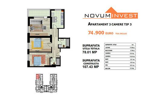 Apartament 3 camere Tip 3 - Lacul Morii