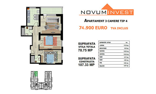 Apartament 3 camere Tip 4 - Lacul Morii