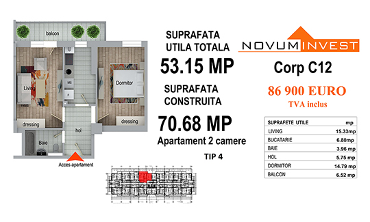 Apartament 2 camere Tip 4 - Corp C12 - Splaiul Independentei