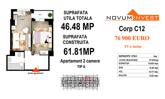 Apartament 2 camere Tip 6 - Corp C12 - Splaiul Independentei