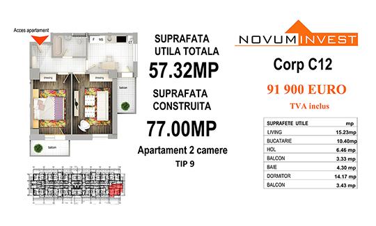 Apartament 2 camere Tip 9 - Corp C12 - Splaiul Independentei
