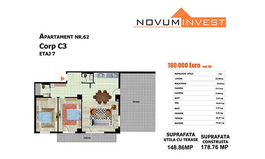 Apartament nr. 62, corp C3 - Splaiul Independentei Bloc 2