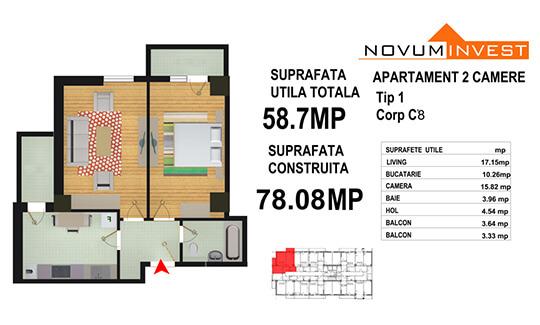 Apartament 2 camere Tip 1 - Corp C8 - Splaiul Independentei Bloc 4