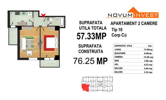 Apartament 2 camere Tip 10 - Corp C8 - Splaiul Independentei Bloc 4