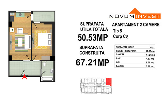 Apartament 2 camere Tip 5 - Corp C8 - Splaiul Independentei Bloc 4