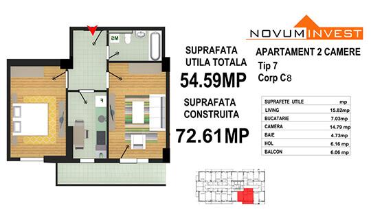 Apartament 2 camere Tip 7 - Corp C8 - Splaiul Independentei Bloc 4