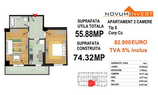 Apartament 2 camere Tip 8 - Corp C8 - Splaiul Independentei Bloc 4
