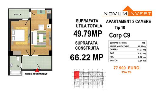 Apartament 2 camere Tip 10 - Corp C9 - Splaiul Independentei Bloc 5