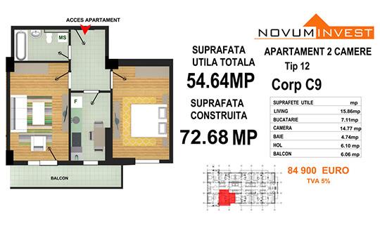Apartament 2 camere Tip 12 - Corp C9 - Splaiul Independentei Bloc 5