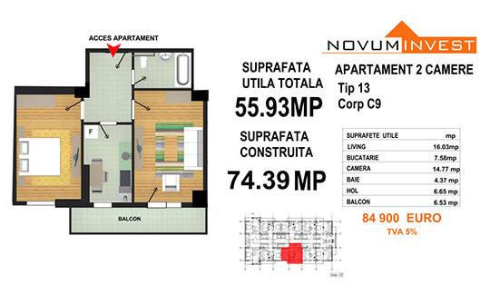 Apartament 2 camere Tip 13 - Corp C9 - Splaiul Independentei Bloc 5
