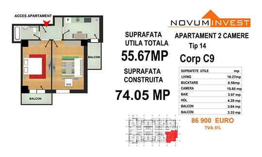 Apartament 2 camere Tip 14 - Corp C9 - Splaiul Independentei Bloc 5