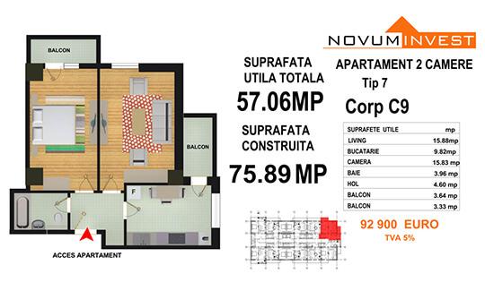 Apartament 2 camere Tip 7 - Corp C9 - Splaiul Independentei Bloc 5