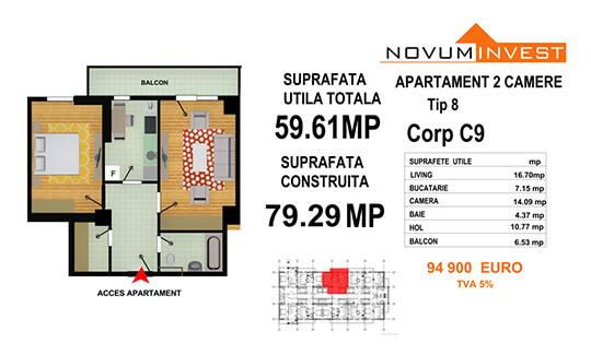 Apartament 2 camere Tip 8 - Corp C9 - Splaiul Independentei Bloc 5
