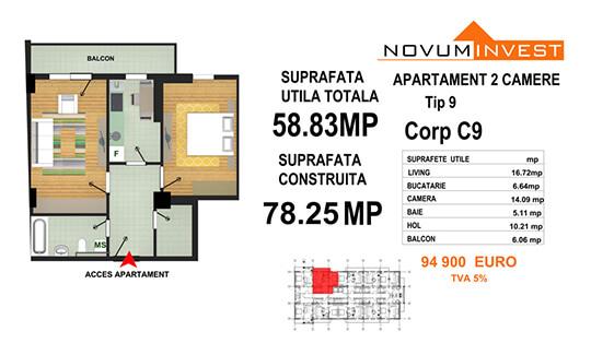 Apartament 2 camere Tip 9 - Corp C9 - Splaiul Independentei Bloc 5