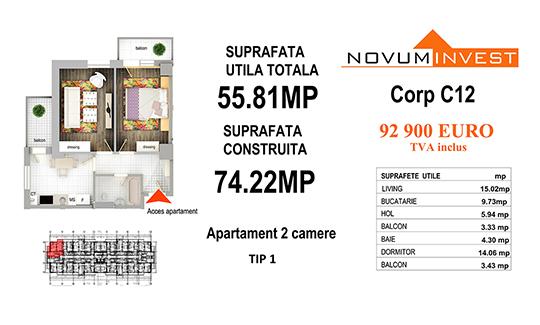 Apartament 2 camere Tip 1 - Corp C12 - Splaiul Independentei Bloc 6