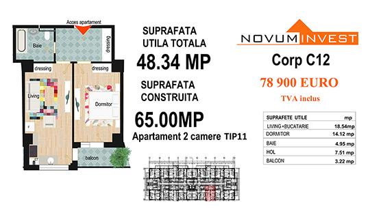 Apartament 2 camere Tip 11 - Corp C12 - Splaiul Independentei Bloc 6