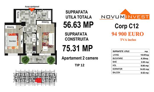 Apartament 2 camere Tip 12 - Corp C12 - Splaiul Independentei Bloc 6