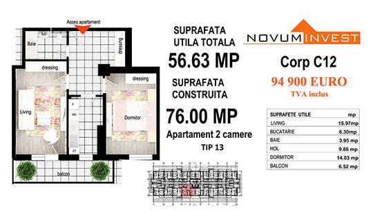 Apartament 2 camere Tip 13 - Corp C12 - Splaiul Independentei Bloc 6