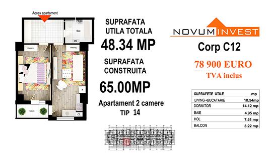 Apartament 2 camere Tip 14 - Corp C12 - Splaiul Independentei Bloc 6